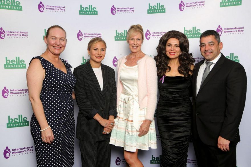 Douglas Partners' Rachel Collier and Arthur Castrissios with Australian of the Year, Grace Tame and Detective Superintendent Deb Wallace and Effie at the IWD luncheon 2021
