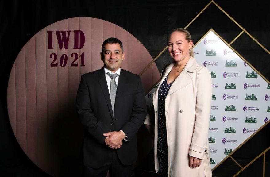 Douglas Partners' Rachel Collier and Arthur Castrissios at the IWD luncheon 2021