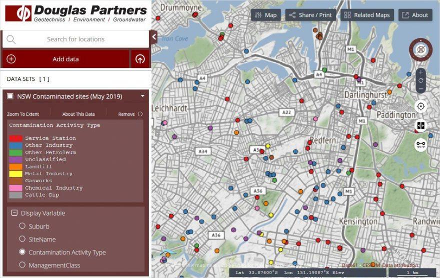 Screenshot of Douglas Map interface